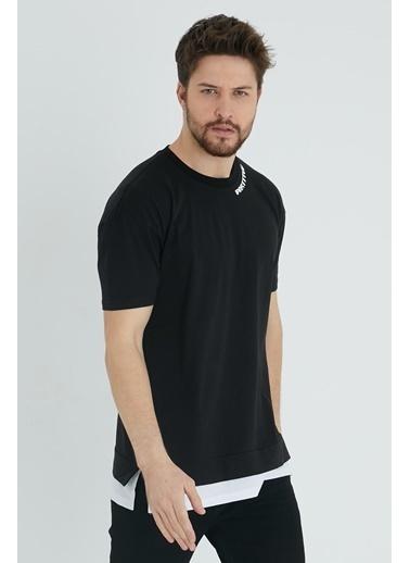 XHAN Vizon Baskılı Garnili T-Shirt 1Kxe1-44637-29 Siyah